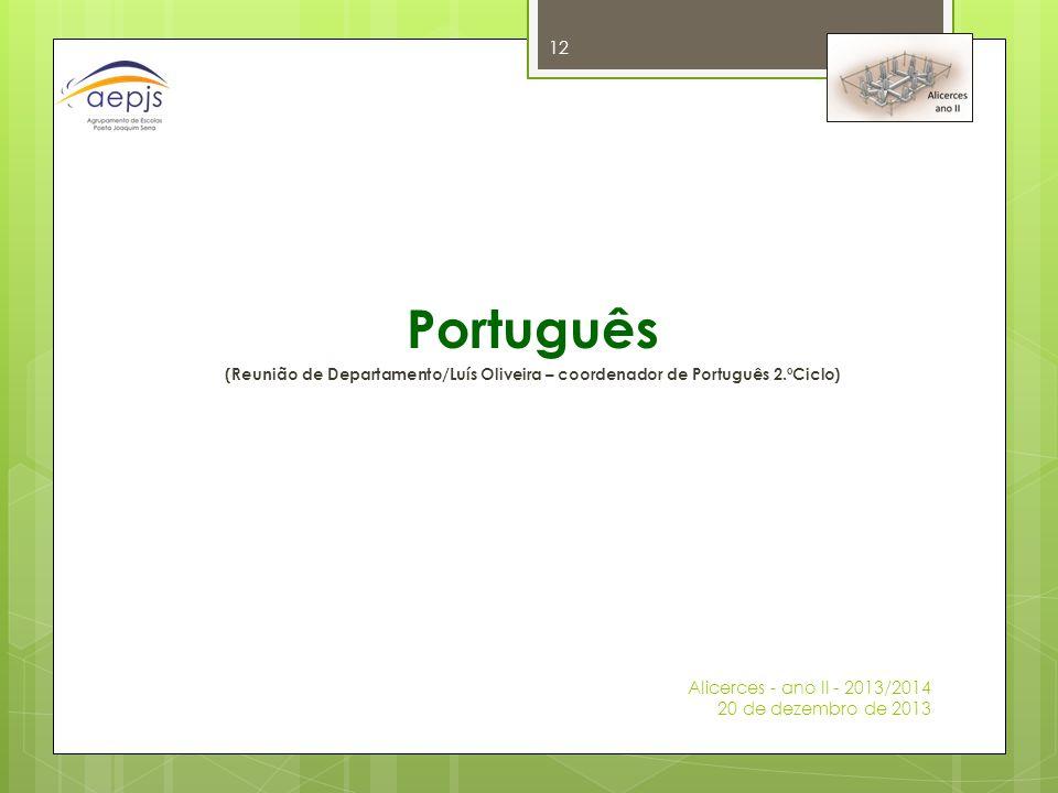 Português (Reunião de Departamento/Luís Oliveira – coordenador de Português 2.ºCiclo) Alicerces - ano II - 2013/2014 20 de dezembro de 2013 12
