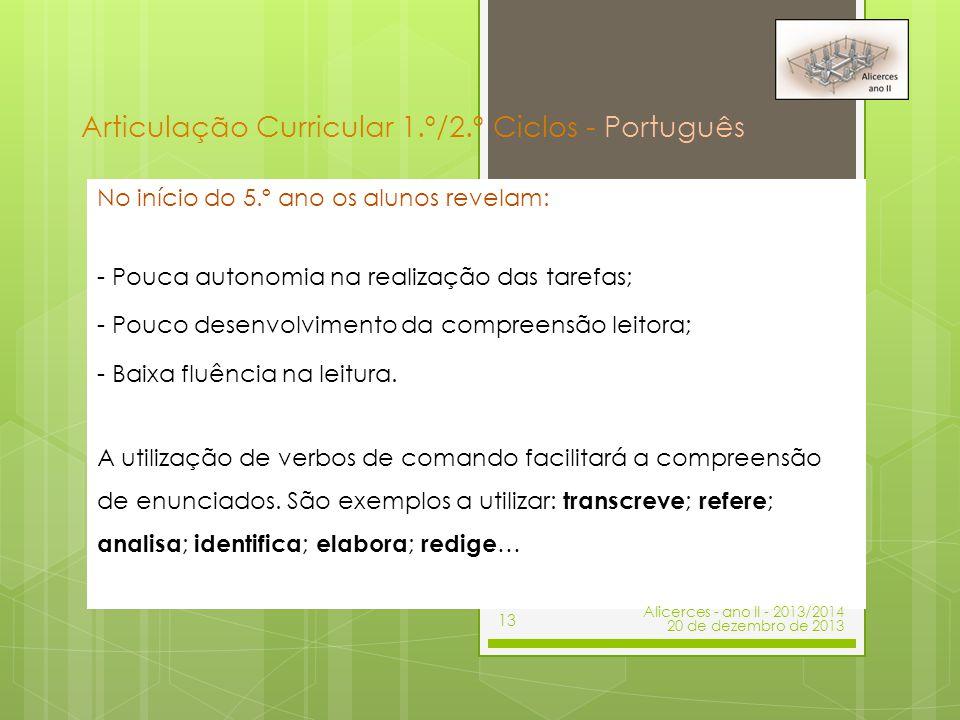 Articulação Curricular 1.º/2.º Ciclos - Português No início do 5.º ano os alunos revelam: - Pouca autonomia na realização das tarefas; - Pouco desenvo