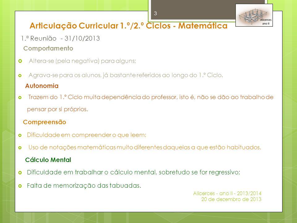 Articulação Curricular 1.º/2.º Ciclos - Matemática 1.ª Reunião - 31/10/2013 Comportamento  Altera-se (pela negativa) para alguns;  Agrava-se para os
