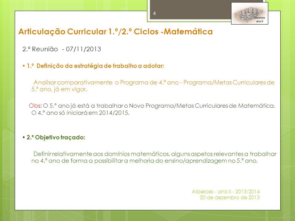 2.ª Reunião - 07/11/2013  1.º Definição da estratégia de trabalho a adotar: Analisar comparativamente o Programa de 4.º ano - Programa/Metas Curricul