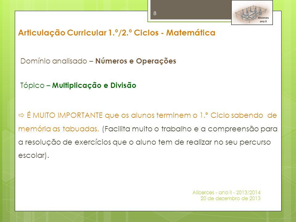 Articulação Curricular 1.º/2.º Ciclos - Matemática Domínio analisado – Números e Operações Tópico – Multiplicação e Divisão  É MUITO IMPORTANTE que o