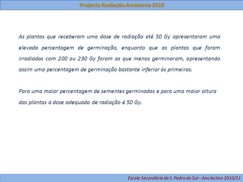 Projecto Radiação Ambiente 2010 Escola Secundária de S.