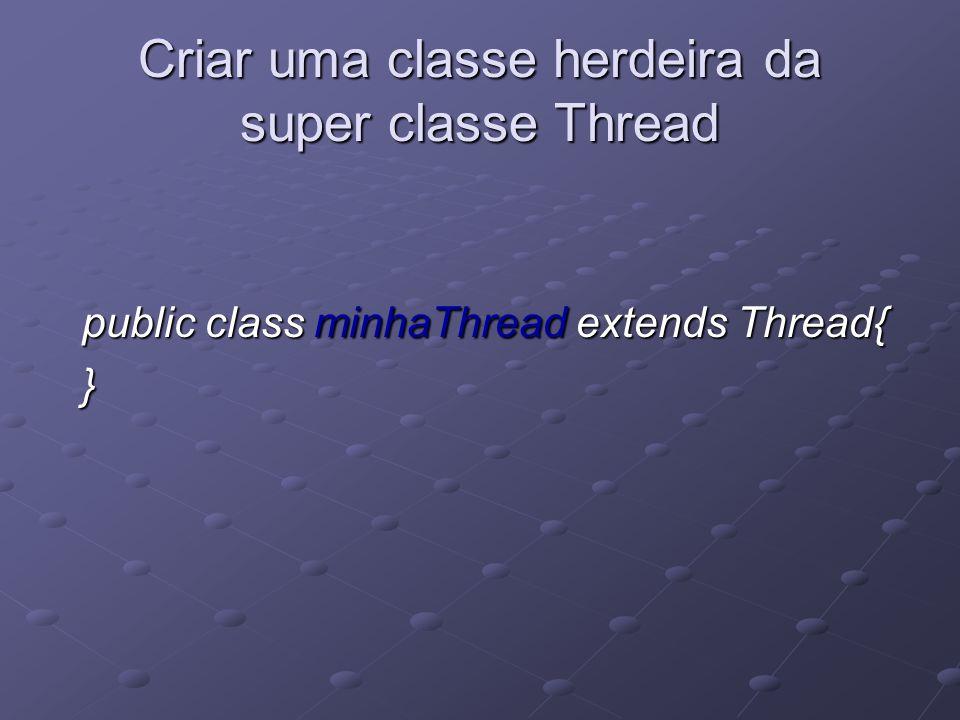 Re-escrever o método run( ) public class minhaThread extends Thread{ public void run( ){... } }