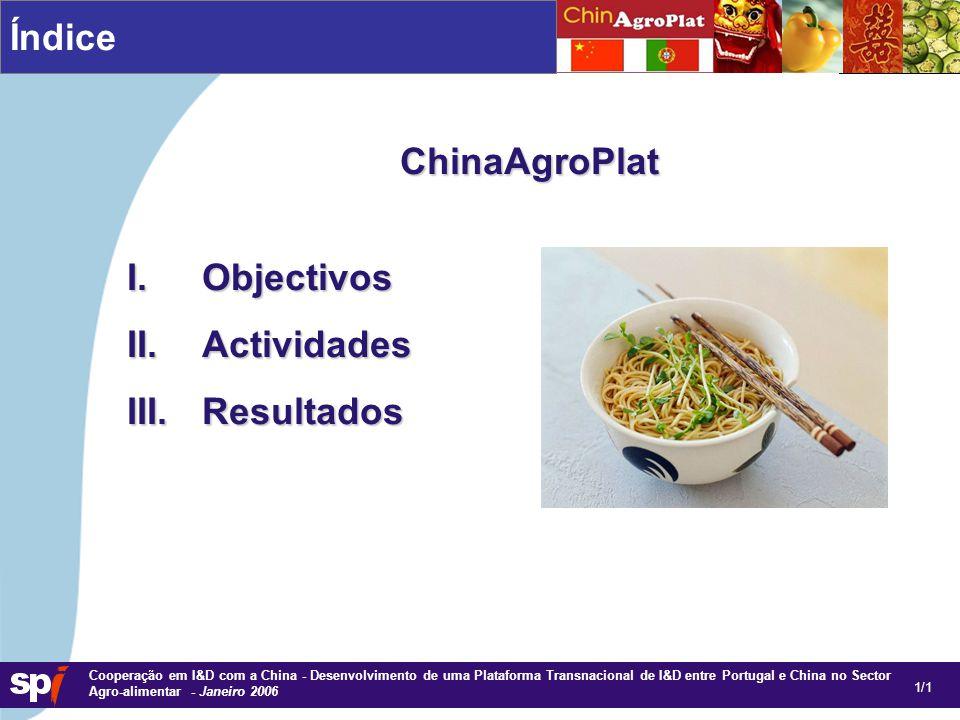1,6/1,6 cm Cooperação em I&D com a China - Desenvolvimento de uma Plataforma Transnacional de I&D entre Portugal e China no Sector Agro-alimentar - Janeiro 2006 Índice ChinaAgroPlat I.Objectivos II.Actividades III.Resultados 1/1