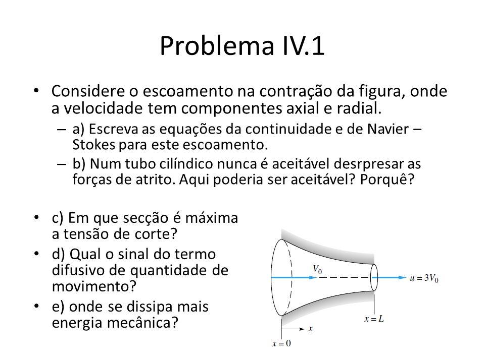 Problema IV.2 Comente as seguintes afirmações: A) Num escoamento laminar com linhas de corrente rectílineas o perfil de velocidades é sempre parabólico.