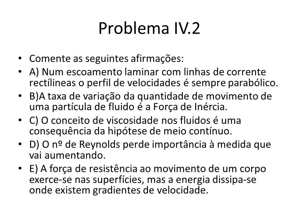 Problema IV.2 Comente as seguintes afirmações: A) Num escoamento laminar com linhas de corrente rectílineas o perfil de velocidades é sempre parabólic