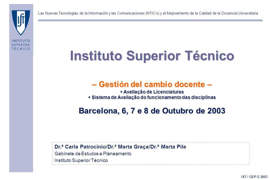 Las Nuevas Tecnologías de la Información y las Comunicaciones (NTIC's) y el Mejoramiento de la Calidad de la Docencia Universitaria IST / GEP © 2003 D