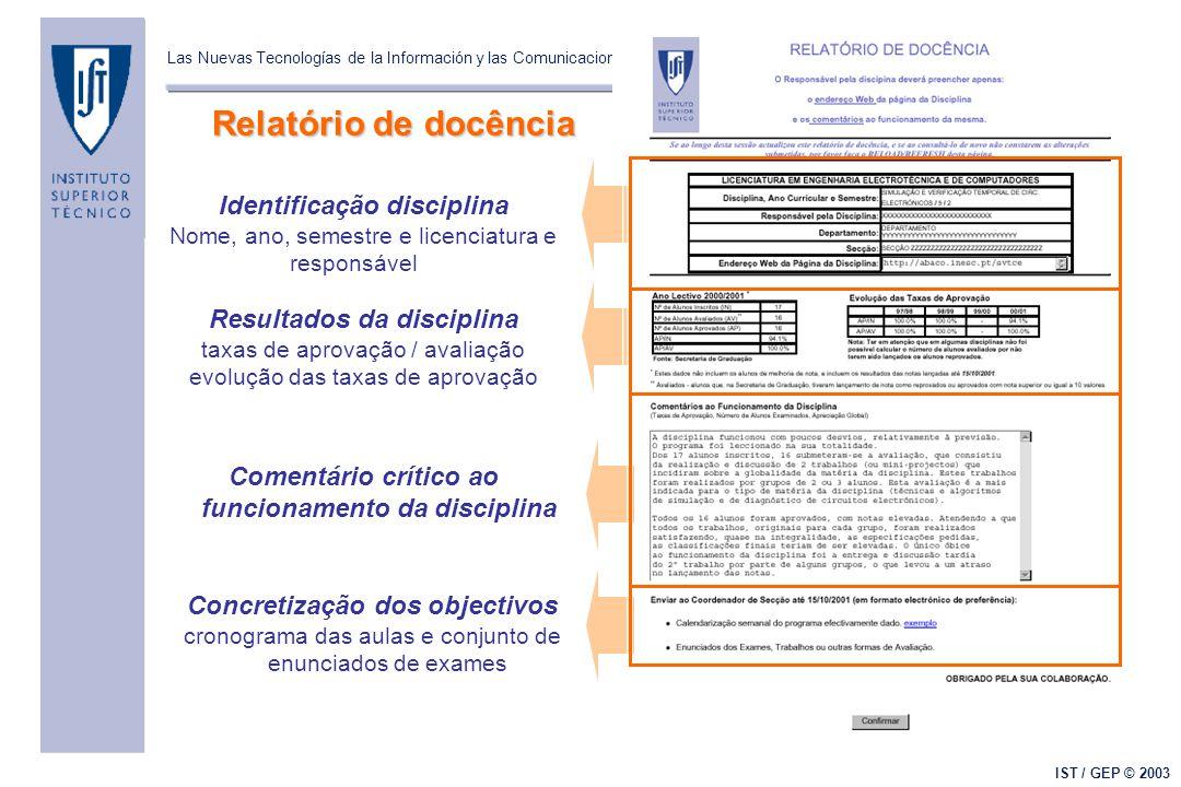 Las Nuevas Tecnologías de la Información y las Comunicaciones (NTIC's) y el Mejoramiento de la Calidad de la Docencia Universitaria IST / GEP © 2003 R
