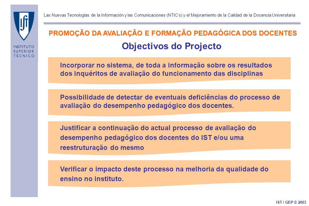 Las Nuevas Tecnologías de la Información y las Comunicaciones (NTIC's) y el Mejoramiento de la Calidad de la Docencia Universitaria IST / GEP © 2003 O