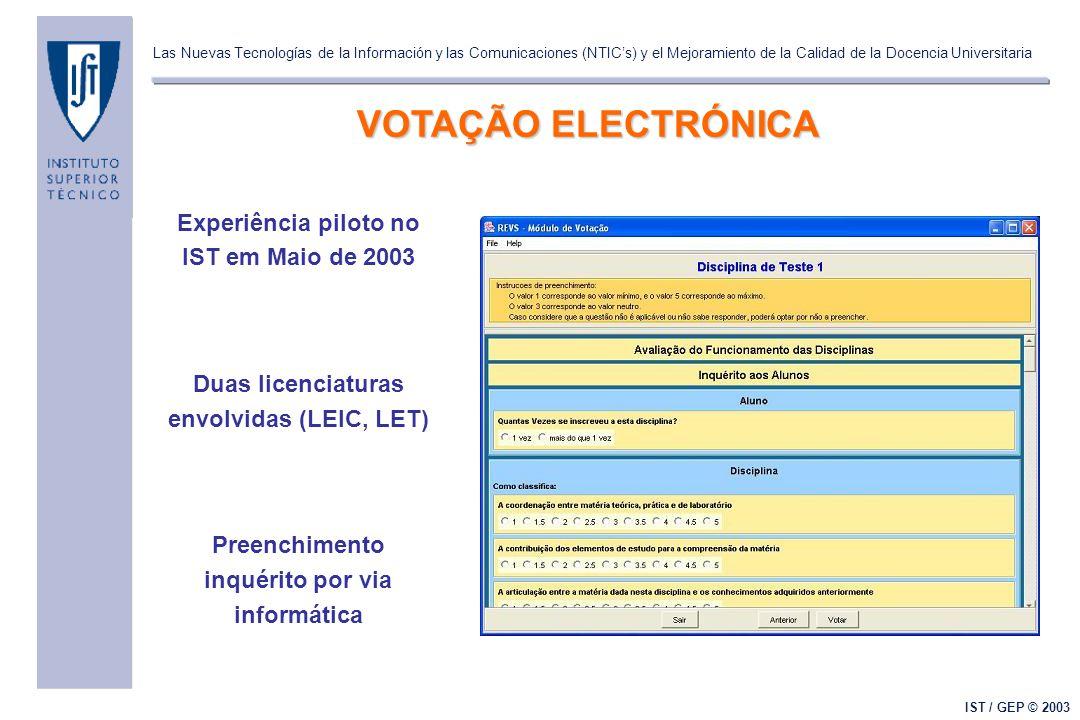Las Nuevas Tecnologías de la Información y las Comunicaciones (NTIC's) y el Mejoramiento de la Calidad de la Docencia Universitaria IST / GEP © 2003 VOTAÇÃO ELECTRÓNICA Experiência piloto no IST em Maio de 2003 Duas licenciaturas envolvidas (LEIC, LET) Preenchimento inquérito por via informática