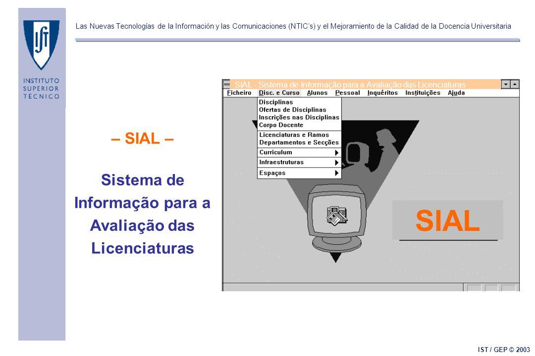 Las Nuevas Tecnologías de la Información y las Comunicaciones (NTIC's) y el Mejoramiento de la Calidad de la Docencia Universitaria IST / GEP © 2003 – SIAL – Sistema de Informação para a Avaliação das Licenciaturas SIAL SIAL - Sistema de Informação para a Avaliação das Licenciaturas