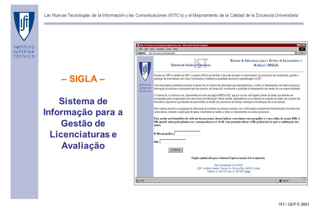 Las Nuevas Tecnologías de la Información y las Comunicaciones (NTIC's) y el Mejoramiento de la Calidad de la Docencia Universitaria IST / GEP © 2003 – SIGLA – Sistema de Informação para a Gestão de Licenciaturas e Avaliação
