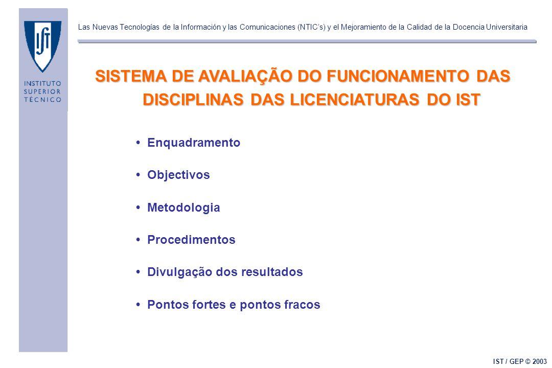 Las Nuevas Tecnologías de la Información y las Comunicaciones (NTIC's) y el Mejoramiento de la Calidad de la Docencia Universitaria IST / GEP © 2003 E