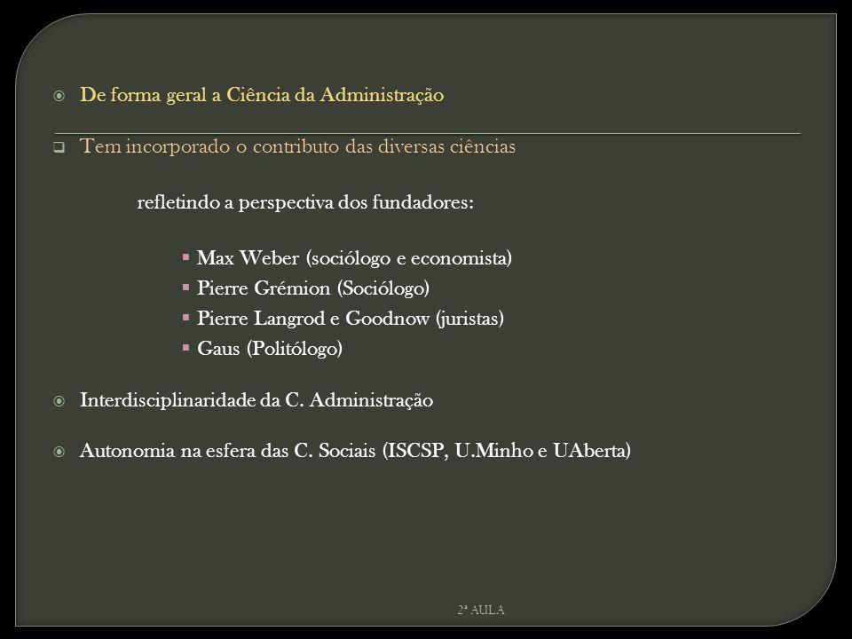  De forma geral a Ciência da Administração  Tem incorporado o contributo das diversas ciências refletindo a perspectiva dos fundadores:  Max Weber (sociólogo e economista)  Pierre Grémion (Sociólogo)  Pierre Langrod e Goodnow (juristas)  Gaus (Politólogo)  Interdisciplinaridade da C.