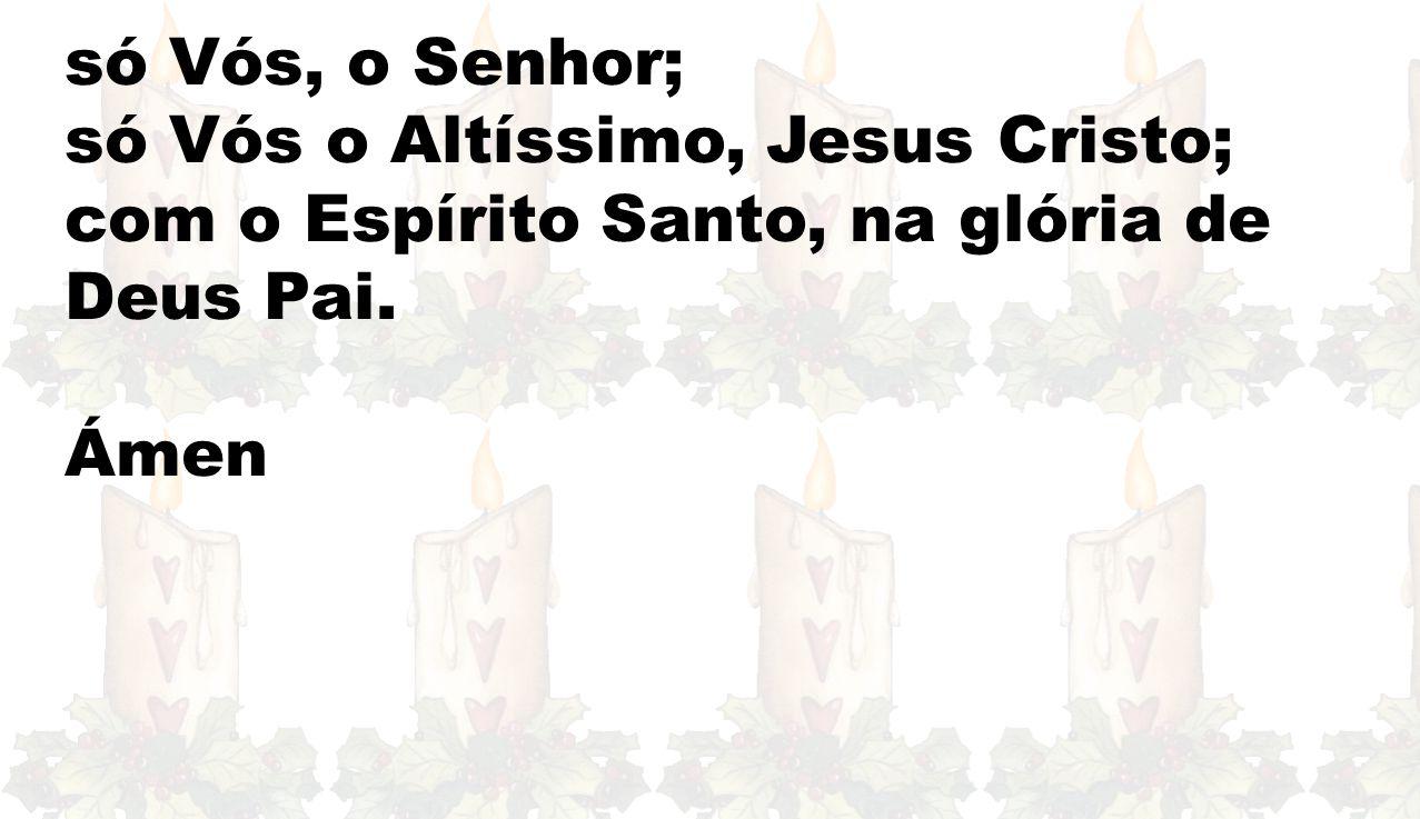 só Vós, o Senhor; só Vós o Altíssimo, Jesus Cristo; com o Espírito Santo, na glória de Deus Pai. Ámen