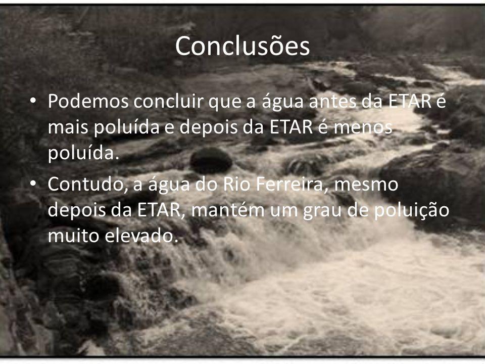 Conclusões Podemos concluir que a água antes da ETAR é mais poluída e depois da ETAR é menos poluída.