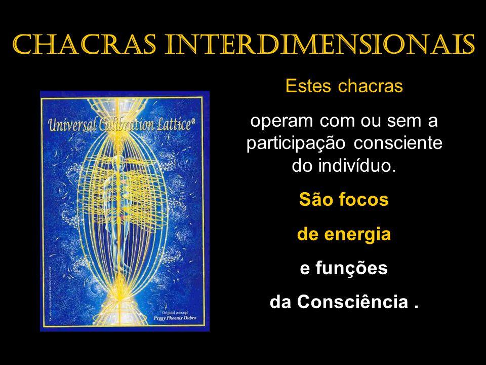 Chacras Interdimensionais Estes chacras operam com ou sem a participação consciente do indivíduo. São focos de energia e funções da Consciência.