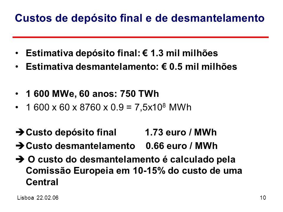 Lisboa 22.02.0610 Custos de depósito final e de desmantelamento Estimativa depósito final: € 1.3 mil milhões Estimativa desmantelamento: € 0.5 mil milhões 1 600 MWe, 60 anos: 750 TWh 1 600 x 60 x 8760 x 0.9 = 7,5x10 8 MWh èCusto depósito final 1.73 euro / MWh èCusto desmantelamento 0.66 euro / MWh  O custo do desmantelamento é calculado pela Comissão Europeia em 10-15% do custo de uma Central