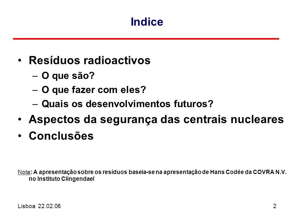 Lisboa 22.02.062 Indice Resíduos radioactivos –O que são? –O que fazer com eles? –Quais os desenvolvimentos futuros? Aspectos da segurança das centrai