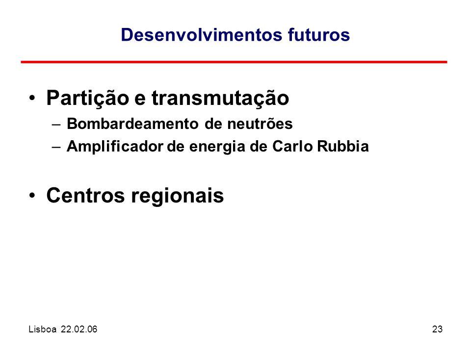 Lisboa 22.02.0623 Desenvolvimentos futuros Partição e transmutação –Bombardeamento de neutrões –Amplificador de energia de Carlo Rubbia Centros regionais