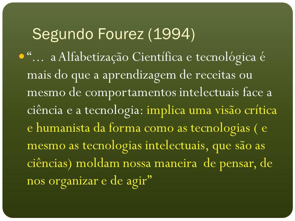 """Segundo Fourez (1994) """"... a Alfabetização Científica e tecnológica é mais do que a aprendizagem de receitas ou mesmo de comportamentos intelectuais f"""