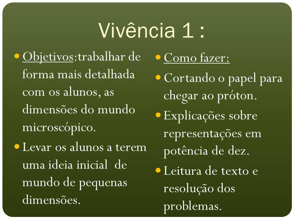 Vivência 1 : Objetivos:trabalhar de forma mais detalhada com os alunos, as dimensões do mundo microscópico. Levar os alunos a terem uma ideia inicial