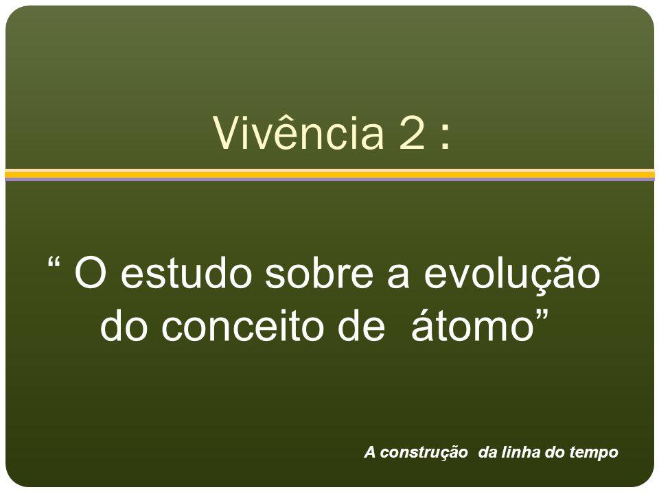 """Vivência 2 : """" O estudo sobre a evolução do conceito de átomo"""" A construção da linha do tempo"""