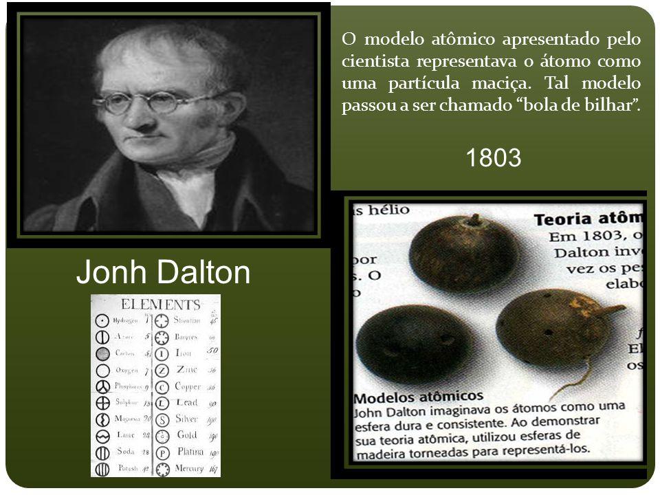 """O modelo atômico apresentado pelo cientista representava o átomo como uma partícula maciça. Tal modelo passou a ser chamado """"bola de bilhar """". Jonh Da"""