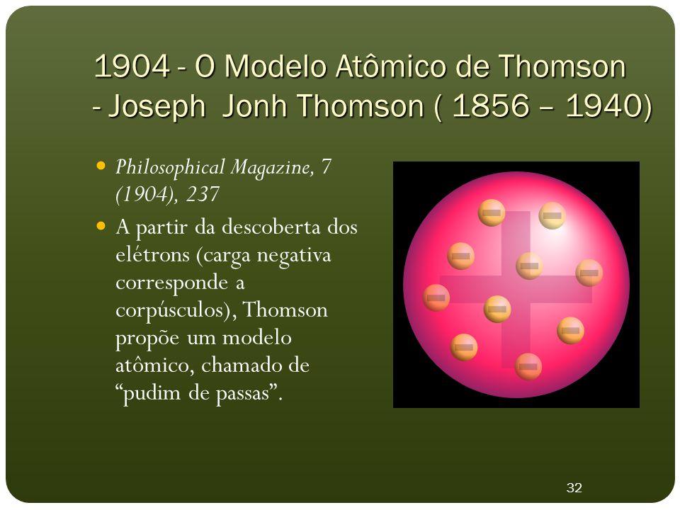 1904 - O Modelo Atômico de Thomson - Joseph Jonh Thomson ( 1856 – 1940) Philosophical Magazine, 7 (1904), 237 A partir da descoberta dos elétrons (carga negativa corresponde a corpúsculos), Thomson propõe um modelo atômico, chamado de pudim de passas .