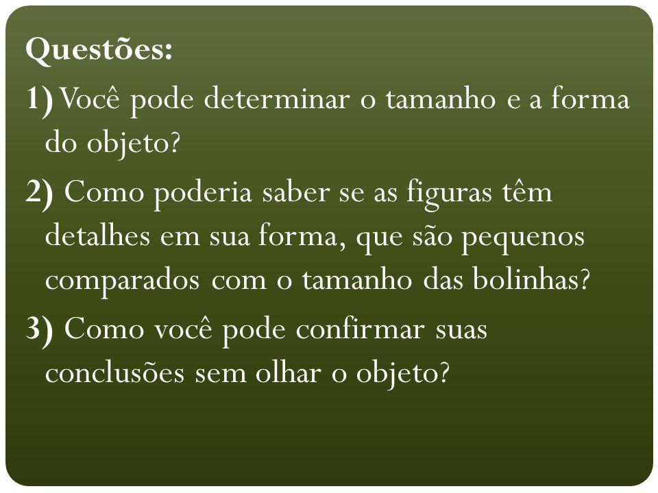Questões: 1) Você pode determinar o tamanho e a forma do objeto? 2) Como poderia saber se as figuras têm detalhes em sua forma, que são pequenos compa