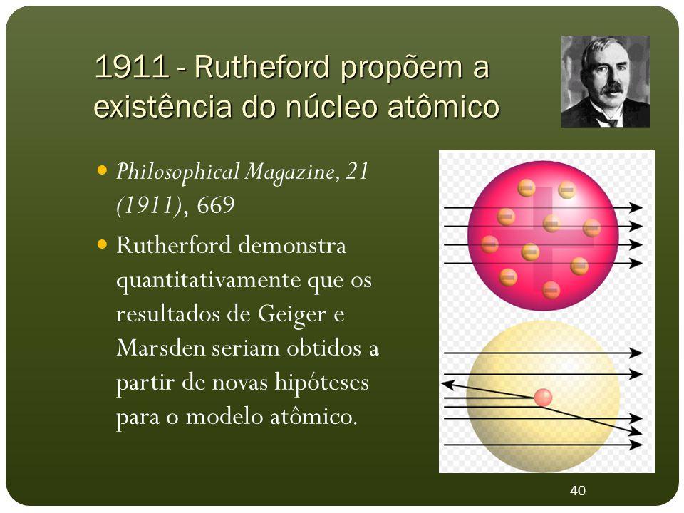 Philosophical Magazine, 21 (1911), 669 Rutherford demonstra quantitativamente que os resultados de Geiger e Marsden seriam obtidos a partir de novas hipóteses para o modelo atômico.