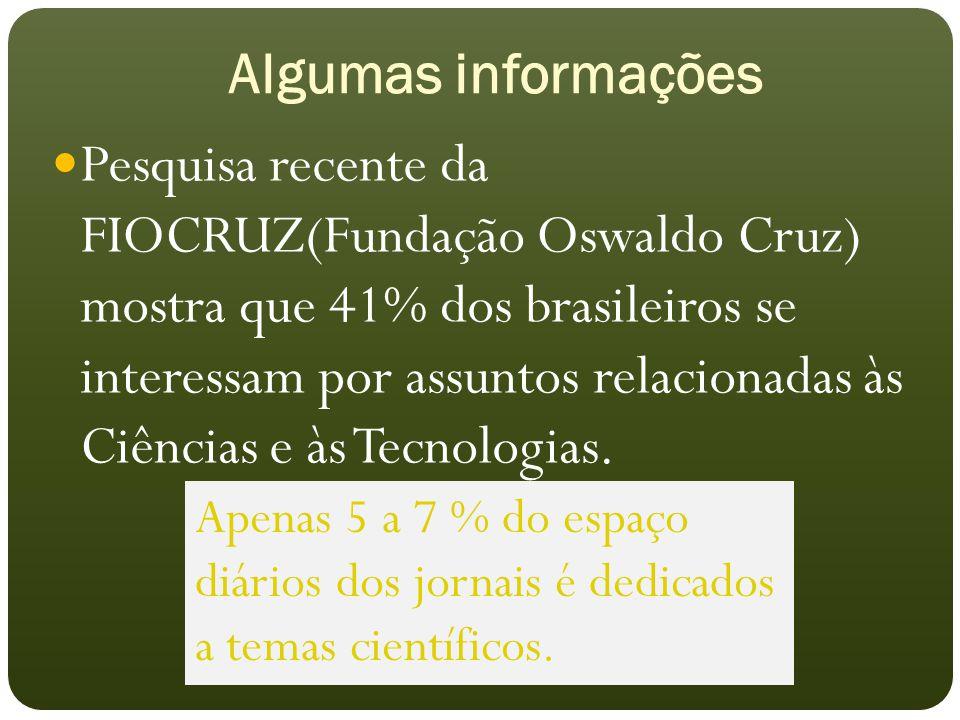 Algumas informações Pesquisa recente da FIOCRUZ(Fundação Oswaldo Cruz) mostra que 41% dos brasileiros se interessam por assuntos relacionadas às Ciências e às Tecnologias.
