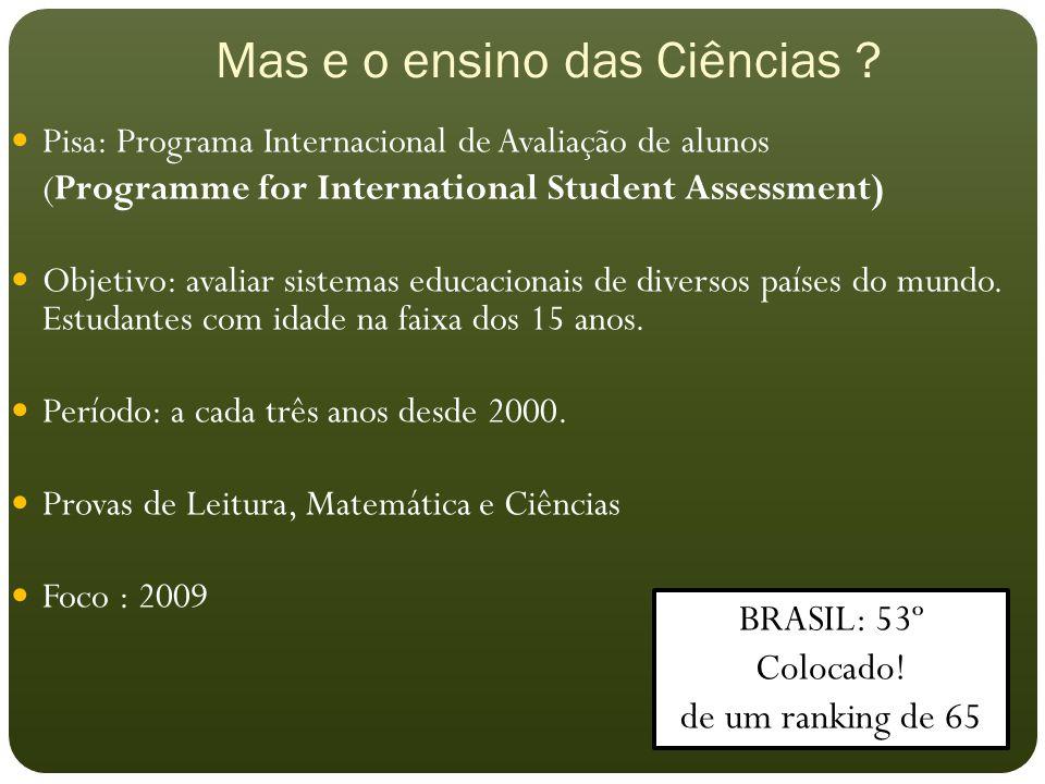 Mas e o ensino das Ciências ? Pisa: Programa Internacional de Avaliação de alunos (Programme for International Student Assessment) Objetivo: avaliar s