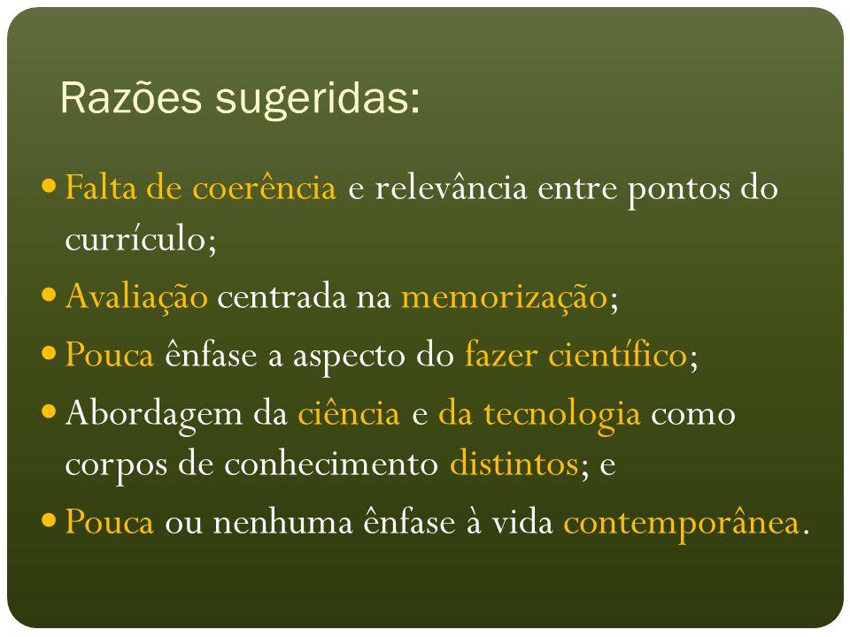 Razões sugeridas: Falta de coerência e relevância entre pontos do currículo; Avaliação centrada na memorização; Pouca ênfase a aspecto do fazer científico; Abordagem da ciência e da tecnologia como corpos de conhecimento distintos; e Pouca ou nenhuma ênfase à vida contemporânea.