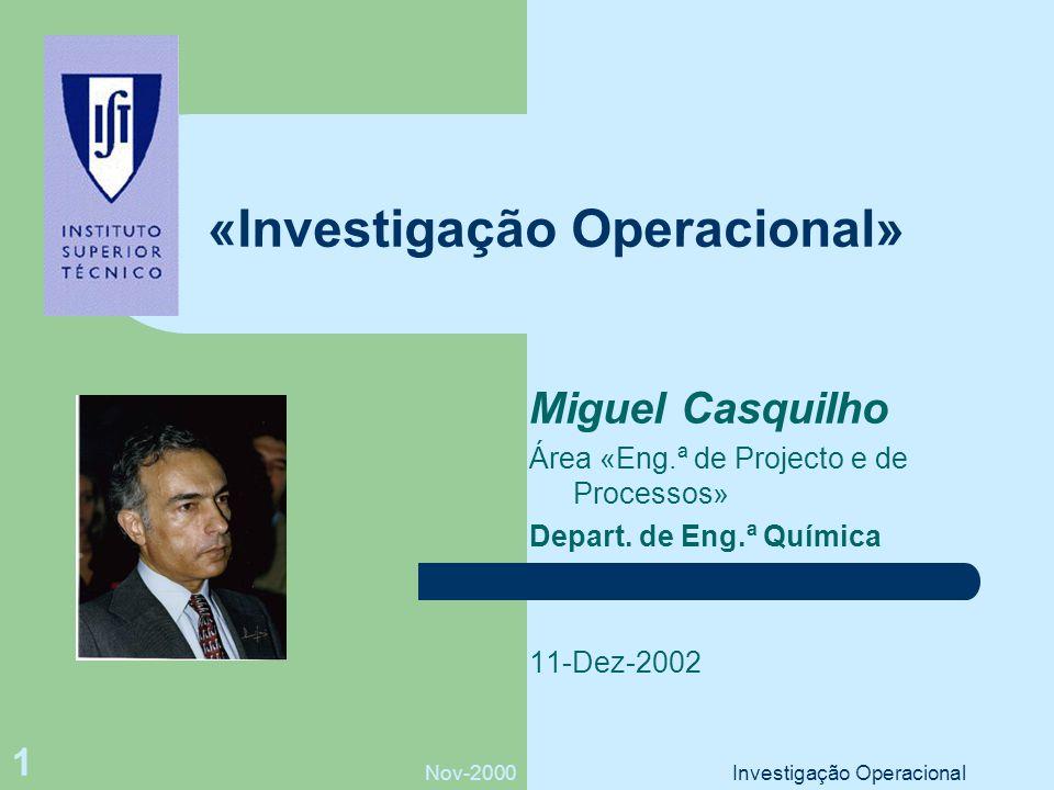 Nov-2000Investigação Operacional 1 «Investigação Operacional» Miguel Casquilho Área «Eng.ª de Projecto e de Processos» Depart.