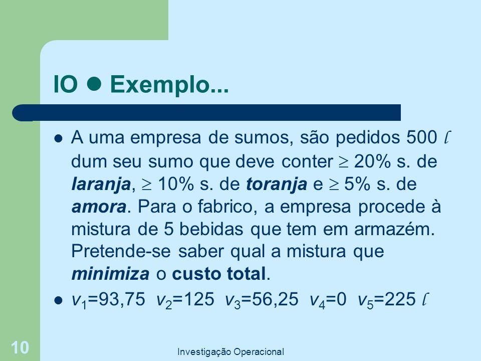 Investigação Operacional 10 IO Exemplo... A uma empresa de sumos, são pedidos 500 l dum seu sumo que deve conter  20% s. de laranja,  10% s. de tora
