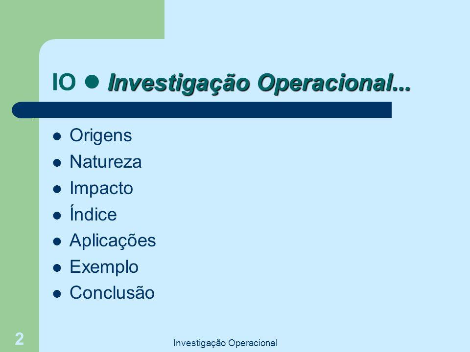 Investigação Operacional 2 Investigação Operacional... IO Investigação Operacional... Origens Natureza Impacto Índice Aplicações Exemplo Conclusão