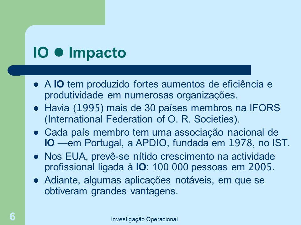 Investigação Operacional 6 IO Impacto A IO tem produzido fortes aumentos de eficiência e produtividade em numerosas organizações. Havia ( 1995 ) mais