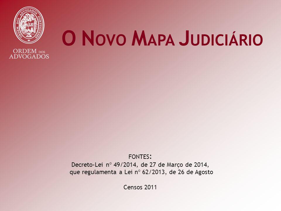 O N OVO M APA J UDICIÁRIO FONTES : Decreto-Lei nº 49/2014, de 27 de Março de 2014, que regulamenta a Lei nº 62/2013, de 26 de Agosto Censos 2011