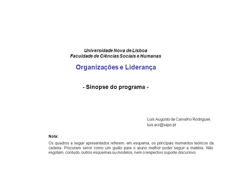 Universidade Nova de Lisboa Faculdade de Ciências Sociais e Humanas Organizações e Liderança - Sinopse do programa - Luís Augusto de Carvalho Rodrigue
