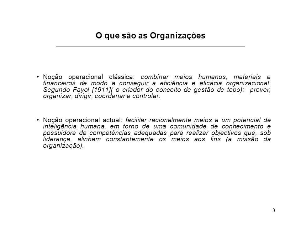 3 O que são as Organizações __________________________________________________________ Noção operacional clássica: combinar meios humanos, materiais e financeiros de modo a conseguir a eficiência e eficácia organizacional.
