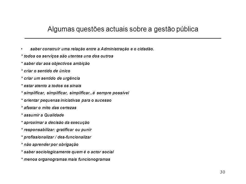 30 Algumas questões actuais sobre a gestão pública __________________________________________________________________________ saber construir uma relação entre a Administração e o cidadão.