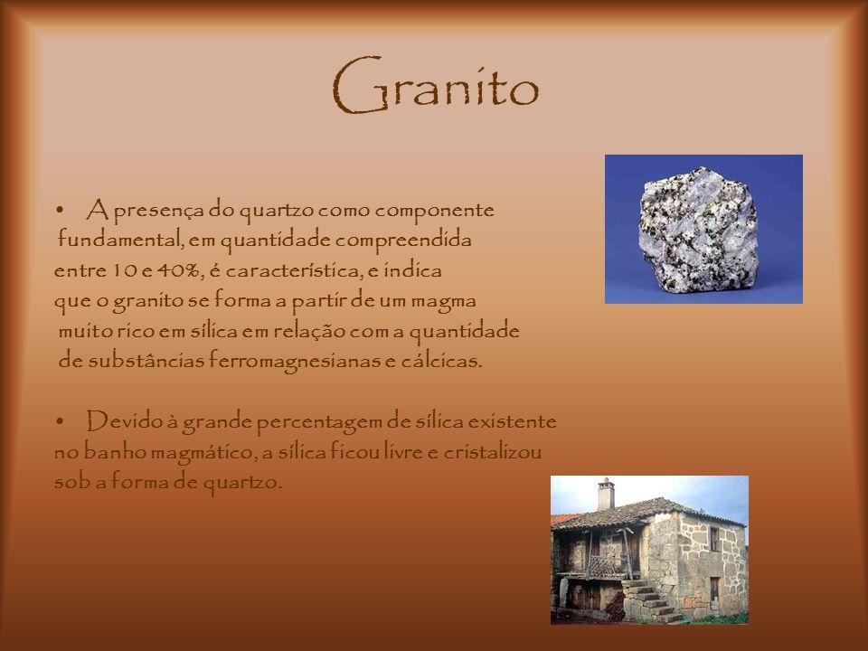 Granito A presença do quartzo como componente fundamental, em quantidade compreendida entre 10 e 40%, é característica, e indica que o granito se form