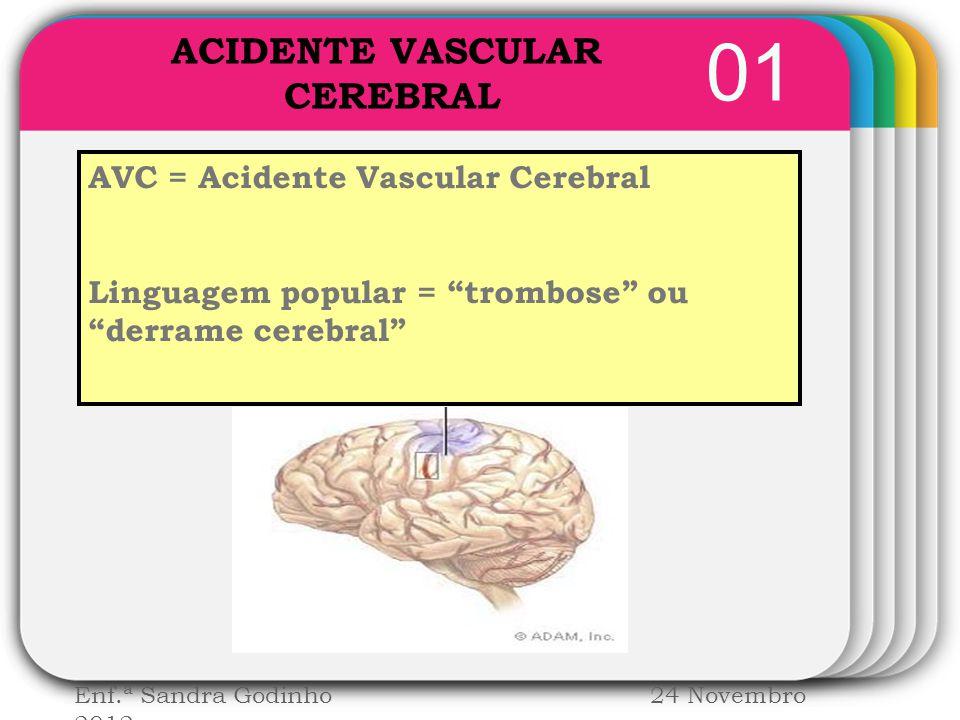 "WINTER Template 01 AVC = Acidente Vascular Cerebral Linguagem popular = ""trombose"" ou ""derrame cerebral"" Enf.ª Sandra Godinho 24 Novembro 2012 ACIDENT"