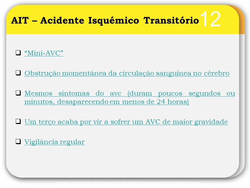 """12  """"Mini-AVC"""" """"Mini-AVC""""  Obstrução momentânea da circulação sanguínea no cérebro Obstrução momentânea da circulação sanguínea no cérebro  Mesmos"""