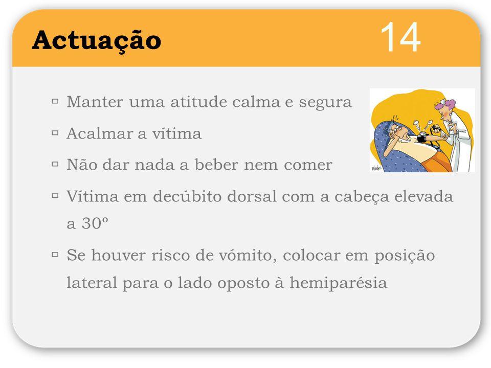 14 Actuação  Manter uma atitude calma e segura  Acalmar a vítima  Não dar nada a beber nem comer  Vítima em decúbito dorsal com a cabeça elevada a