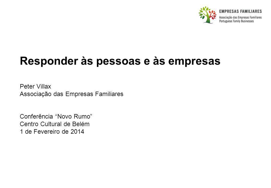 Responder às pessoas e às empresas Peter Villax Associação das Empresas Familiares Conferência Novo Rumo Centro Cultural de Belém 1 de Fevereiro de 2014