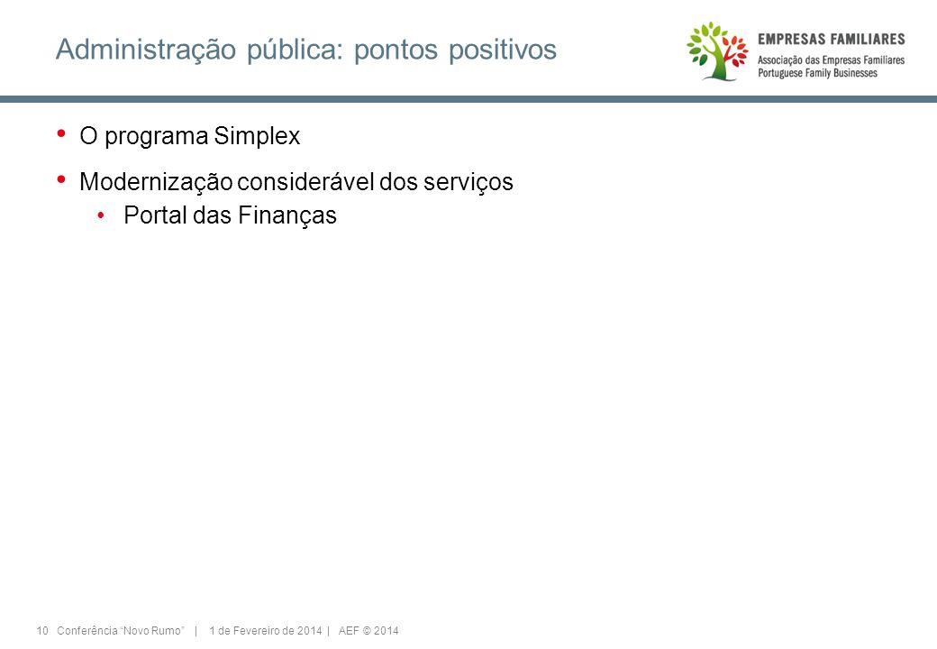 10 Conferência Novo Rumo | 1 de Fevereiro de 2014 | AEF © 2014 Administração pública: pontos positivos O programa Simplex Modernização considerável dos serviços Portal das Finanças