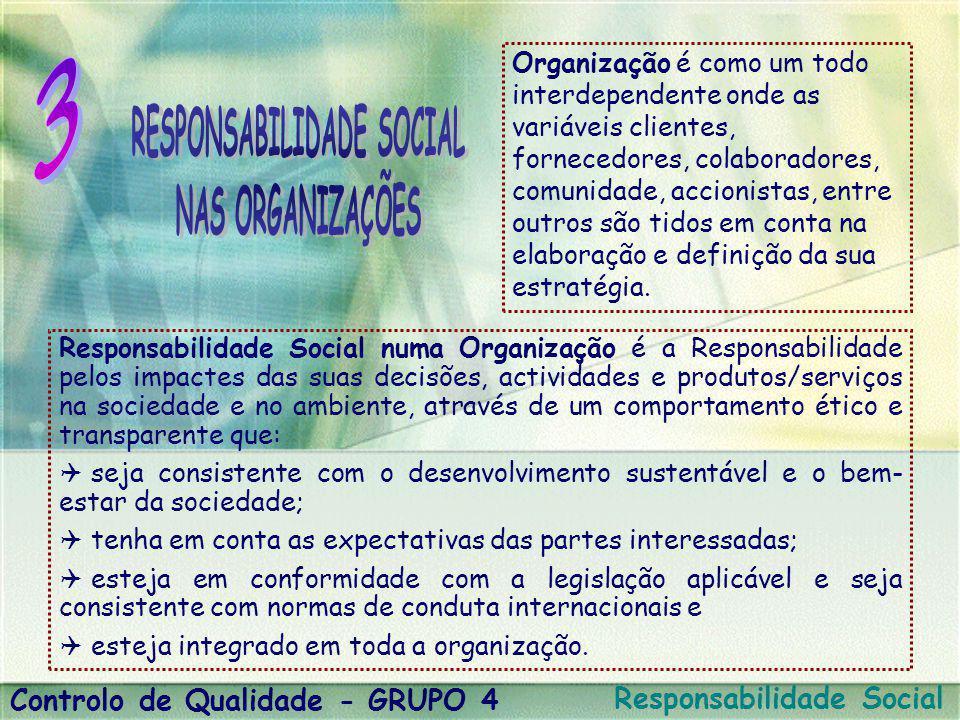 Responsabilidade Social numa Organização é a Responsabilidade pelos impactes das suas decisões, actividades e produtos/serviços na sociedade e no ambi