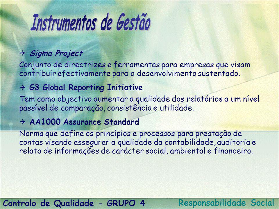  Sigma Project Conjunto de directrizes e ferramentas para empresas que visam contribuir efectivamente para o desenvolvimento sustentado.
